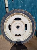 Set of front and rear row crop wheels