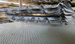 Qty of used 18ft long, thick gauge, shed roof sheets - The description of this lot has been edited.