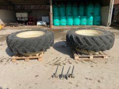 Pair of 18.4R38 Pirelli dual wheels & tyres
