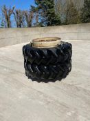 Pair of 18.4R38 Goodyear dual wheels and tyres
