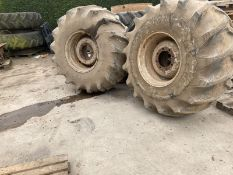 Pair of wheels and 28L-26 tyres to fit Chafer sprayer.