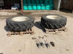 Pair of 14.9R28 dual wheels & tyres