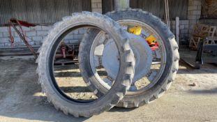 Pair of adjustable row crop wheels plus spare tyres