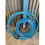 Quantity blue alkathene pipe and drainage rods