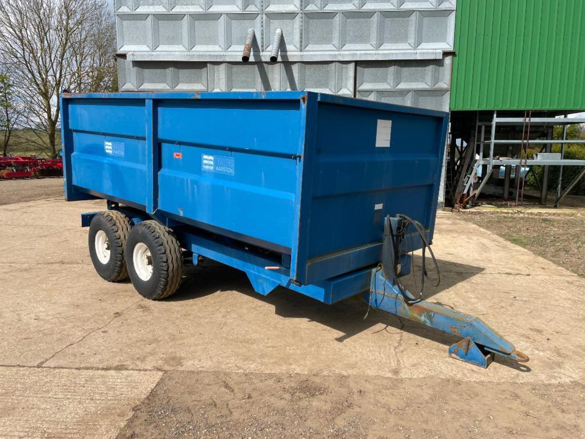 1986 AS Marston 8t twin axle grain trailer, manual tailgate and grain chute on 12.5/80-15.3 wheels a - Image 2 of 14
