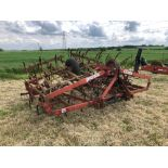 Kongskilde Triple K spring tine cultivator 5.7m, linkage mounted, hydraulic folding. Serial No: 0111