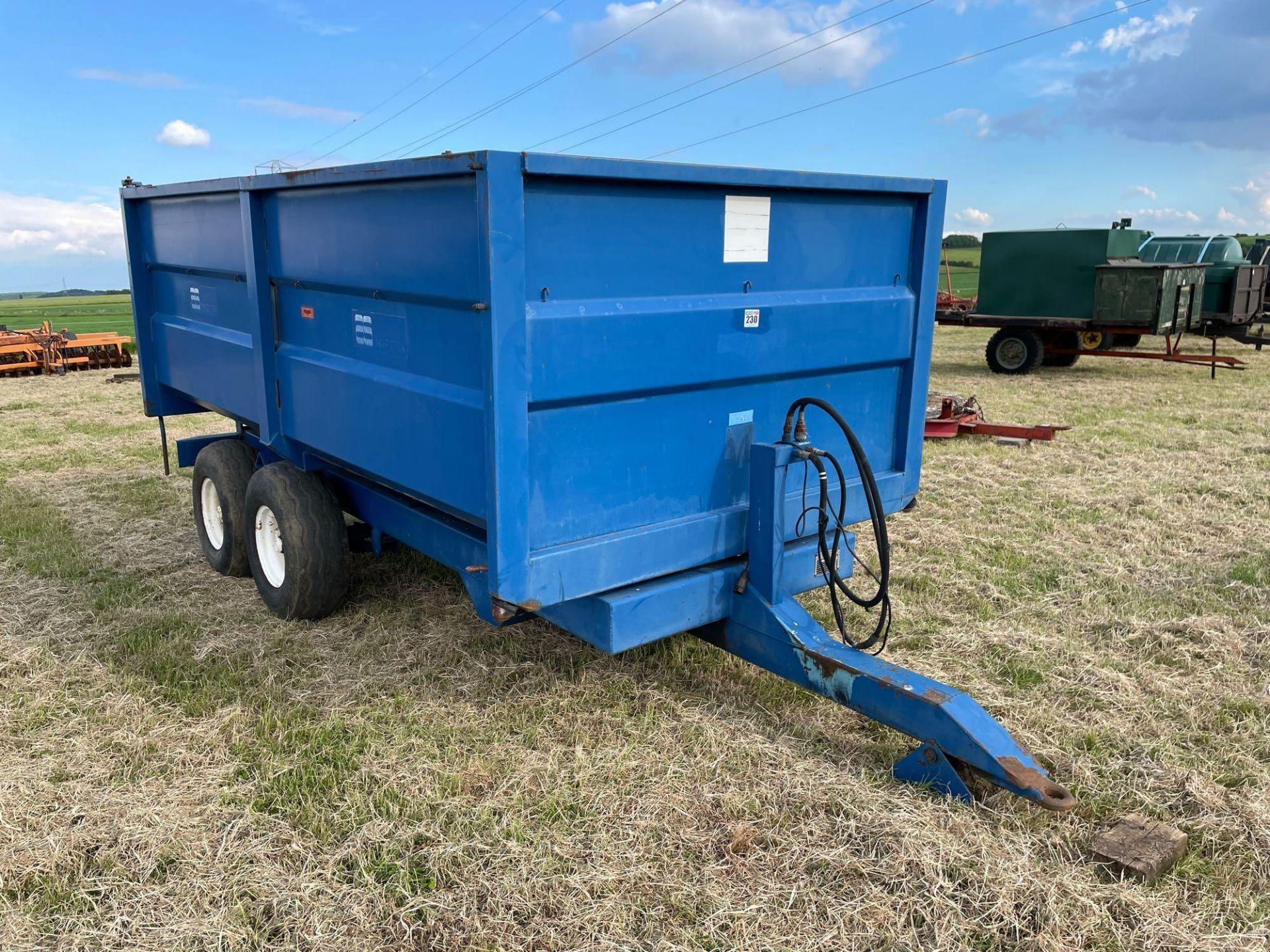 1986 AS Marston 8t twin axle grain trailer, manual tailgate and grain chute on 11.5/80-15.3 wheels a