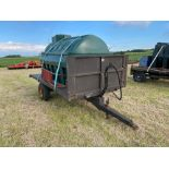 10 ft single axle trailer, wooden floor with Balmoral 2500l tank and 12v electric pump