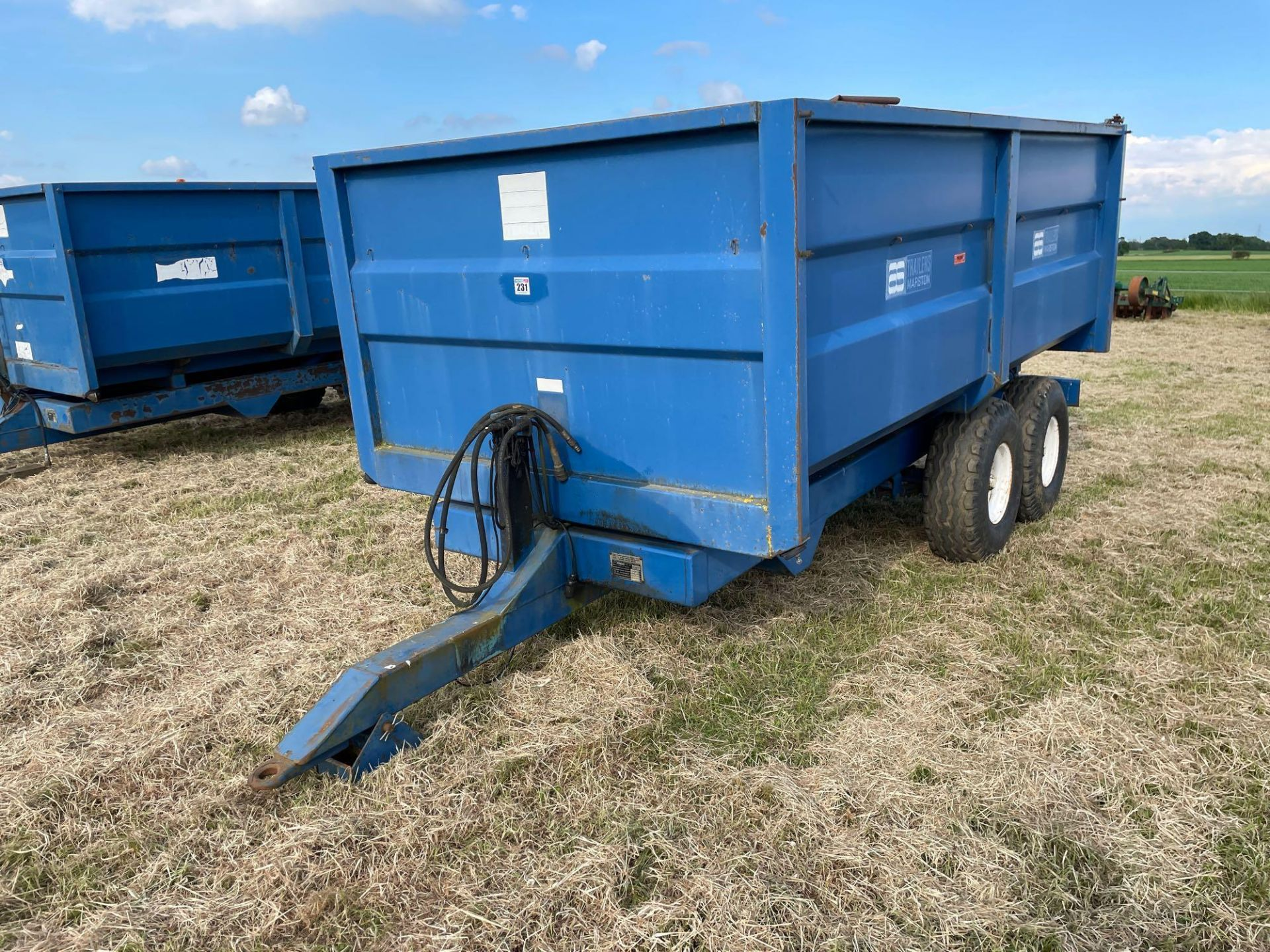 1986 AS Marston 8t twin axle grain trailer, manual tailgate and grain chute on 12.5/80-15.3 wheels a - Image 14 of 14