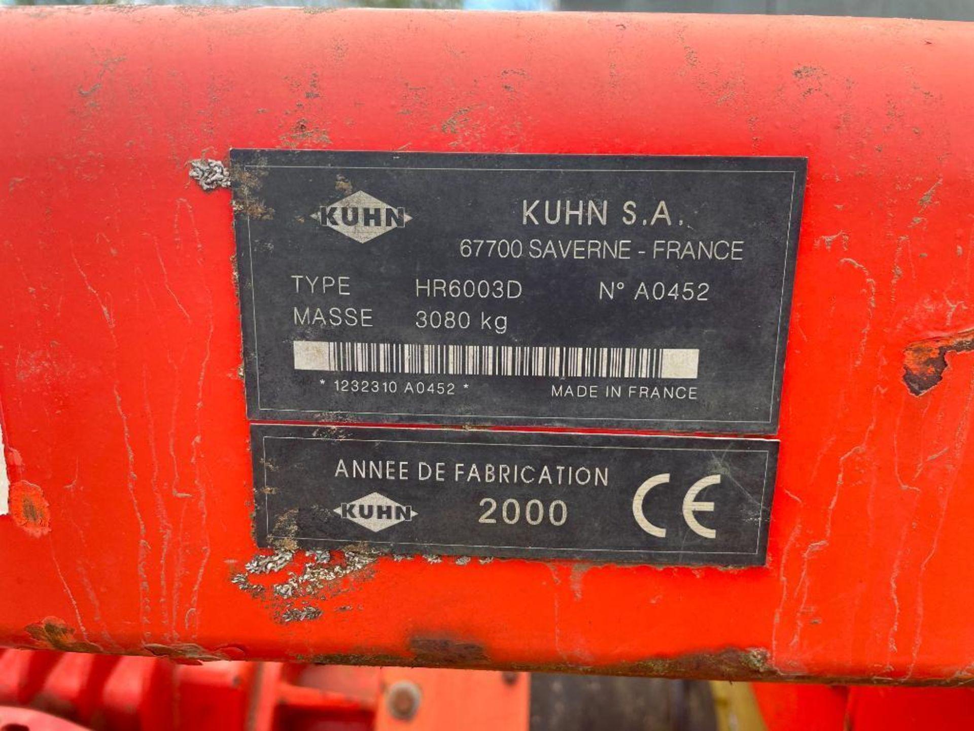 2000 Kuhn HR6003D 6m fixed power harrow and rear crumbler, PTO driven. Serial No: A0452 NB: Manual i - Image 15 of 19