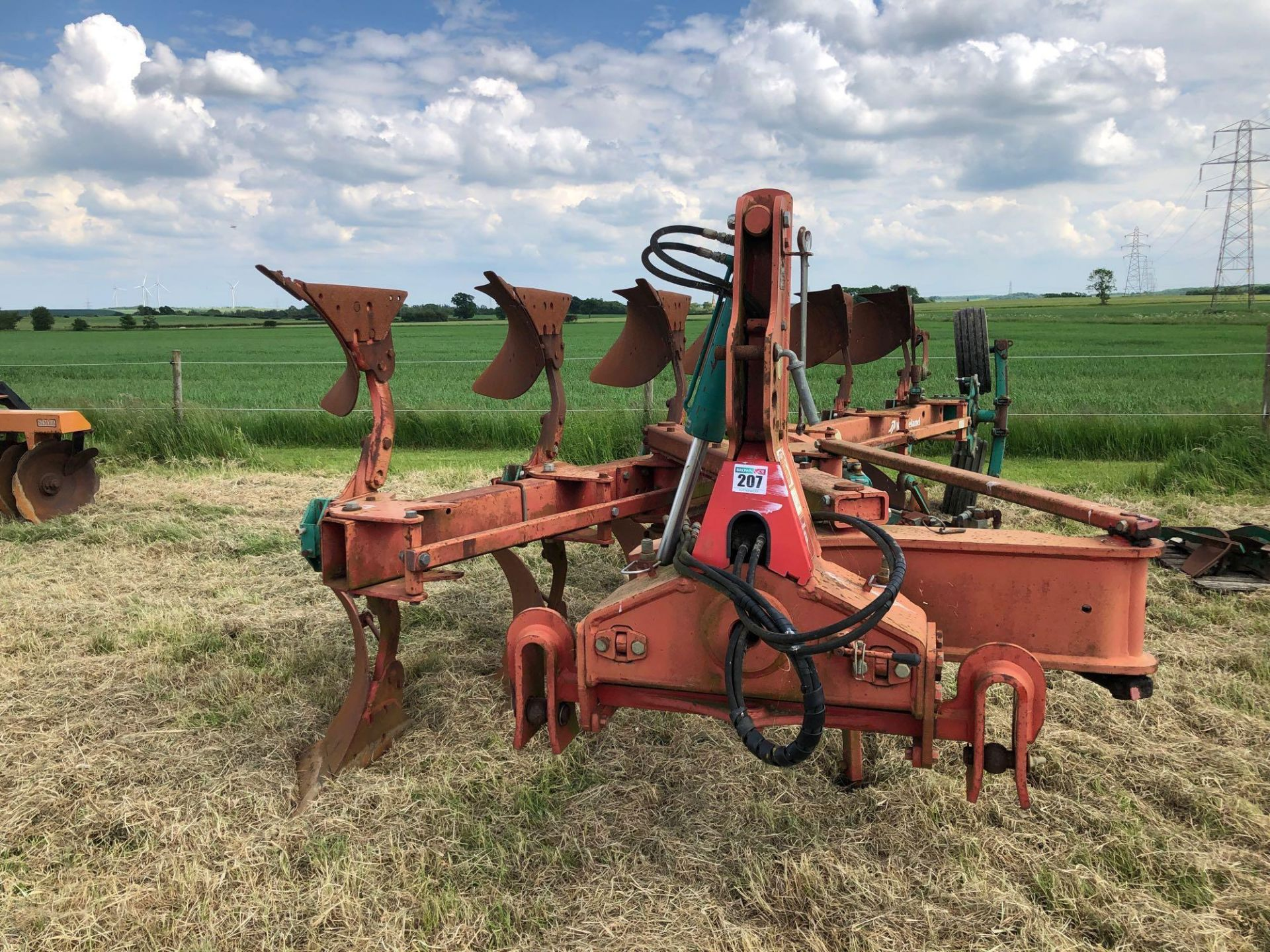 Kverneland 6+1f LO85 reversible plough, hydraulic vari-width. Model No: 85-300-28. Serial No: 240. N - Image 3 of 11