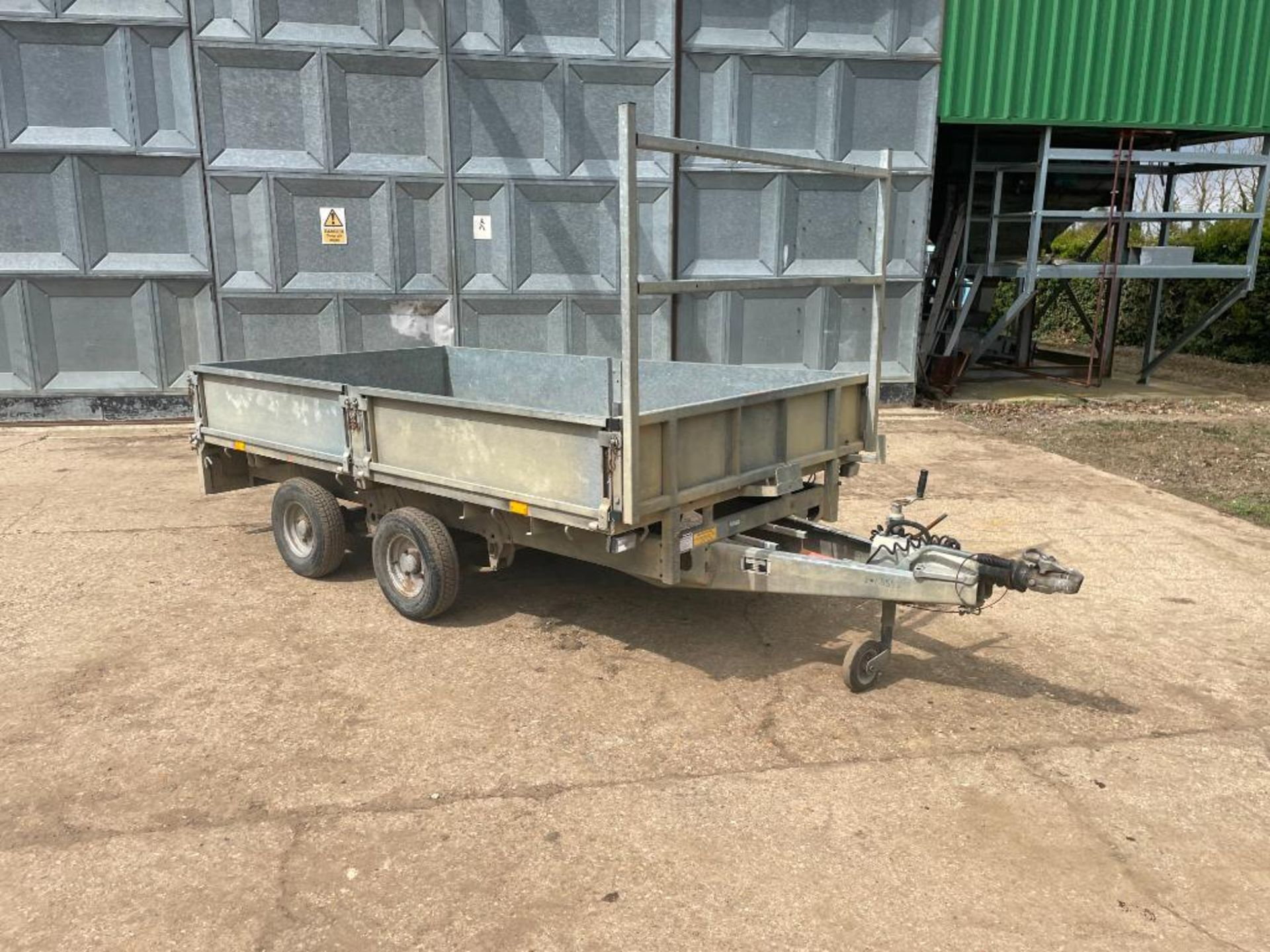 Ifor Williams LT105G 10ft twin axle flat bed trailer with front ladder and aluminium ramps on 145R10