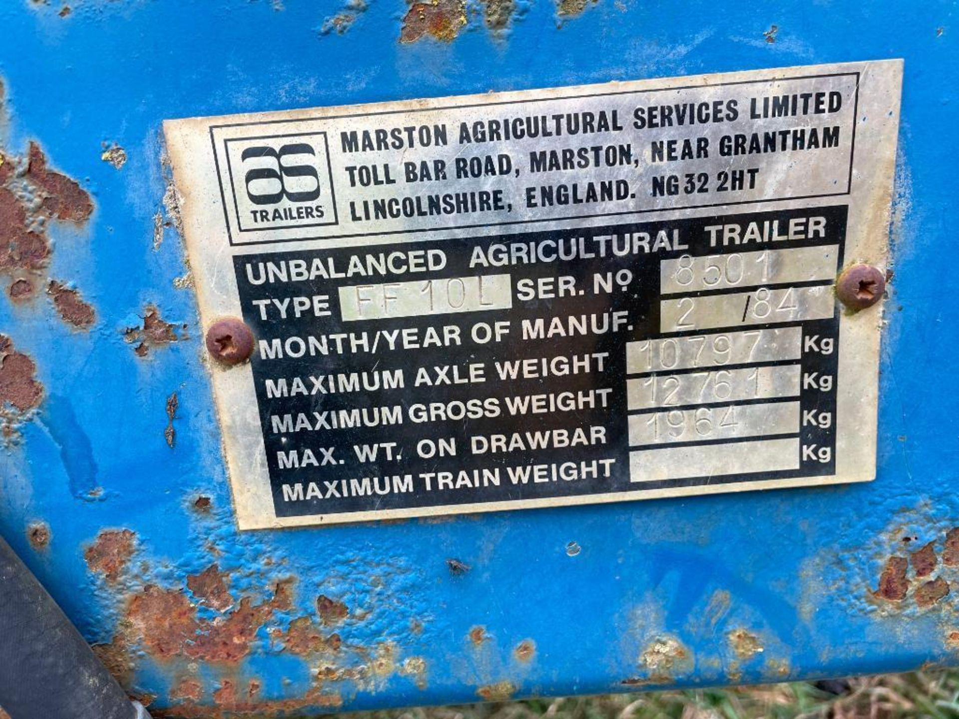 1984 AS Marston 10t twin axle grain trailer, manual tailgate and grain chute on 12./80-15.30 wheels - Image 8 of 10