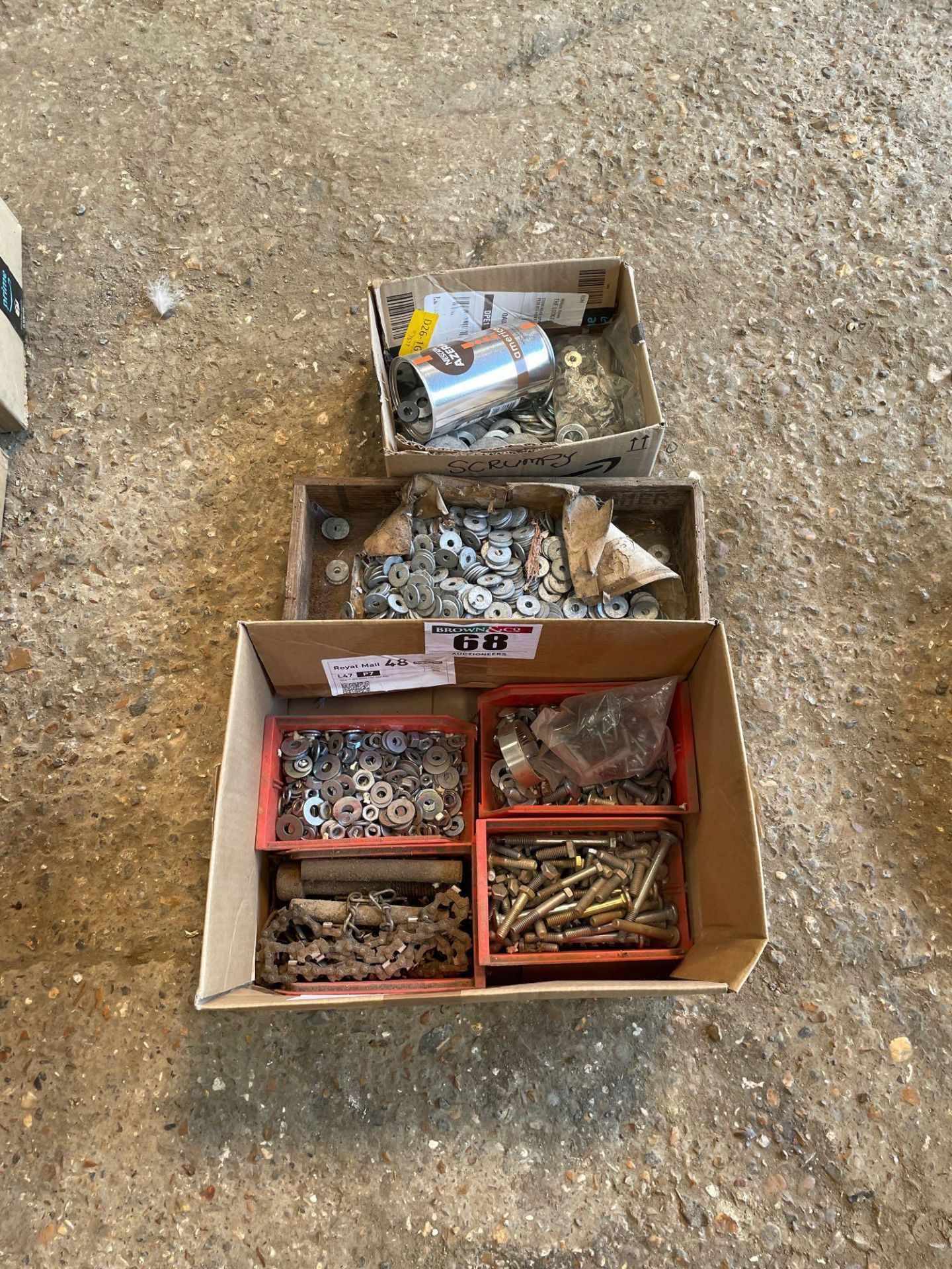 Assorted washers and bolts