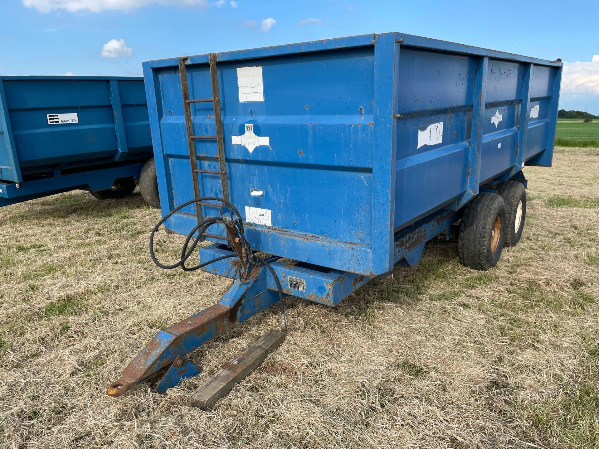 1984 AS Marston 10t twin axle grain trailer, manual tailgate and grain chute on 12./80-15.30 wheels - Image 9 of 10