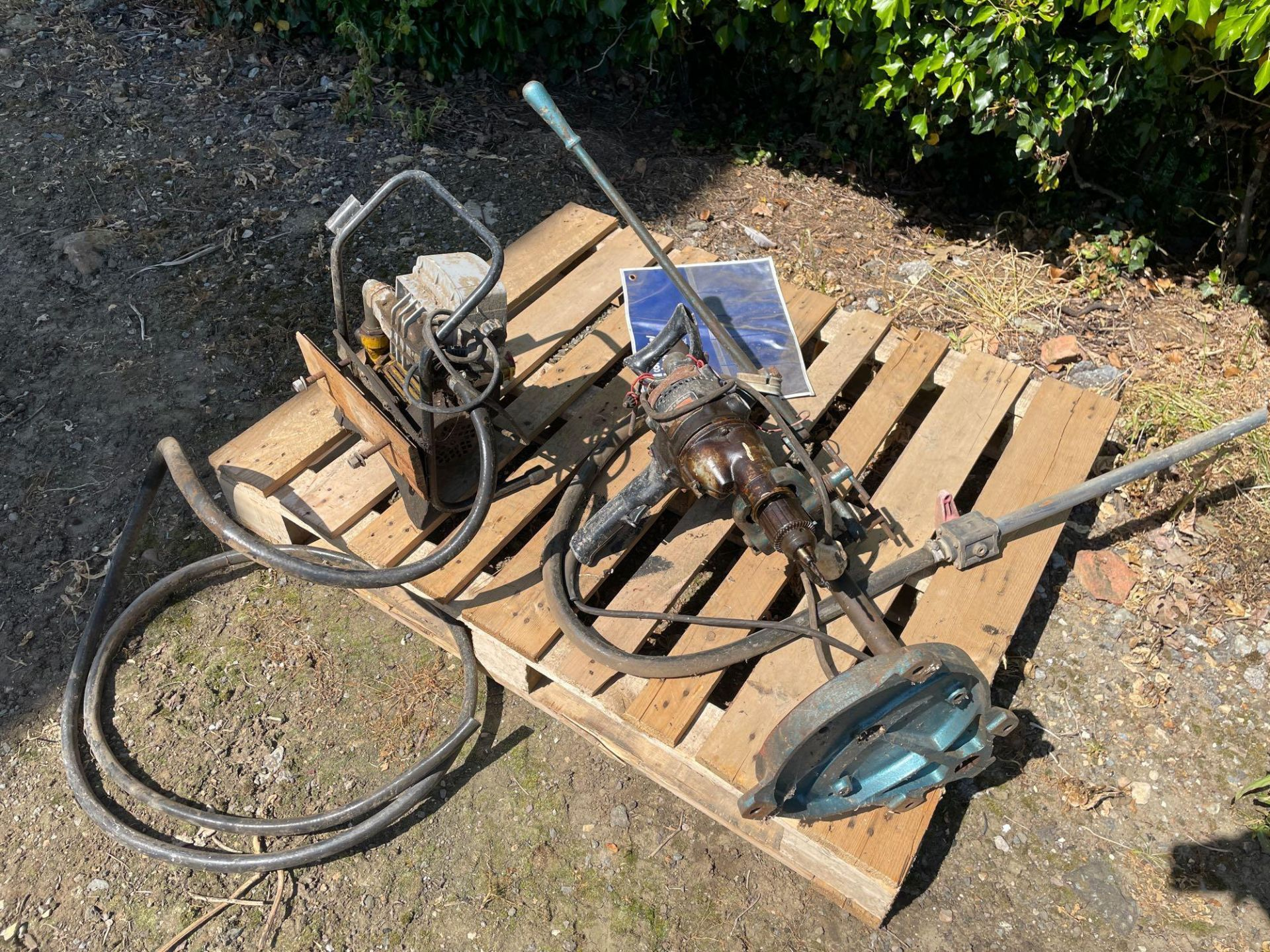 Black & Decker drill on stand and single phase pump