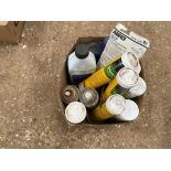 Quantity greases, oils and fence paint