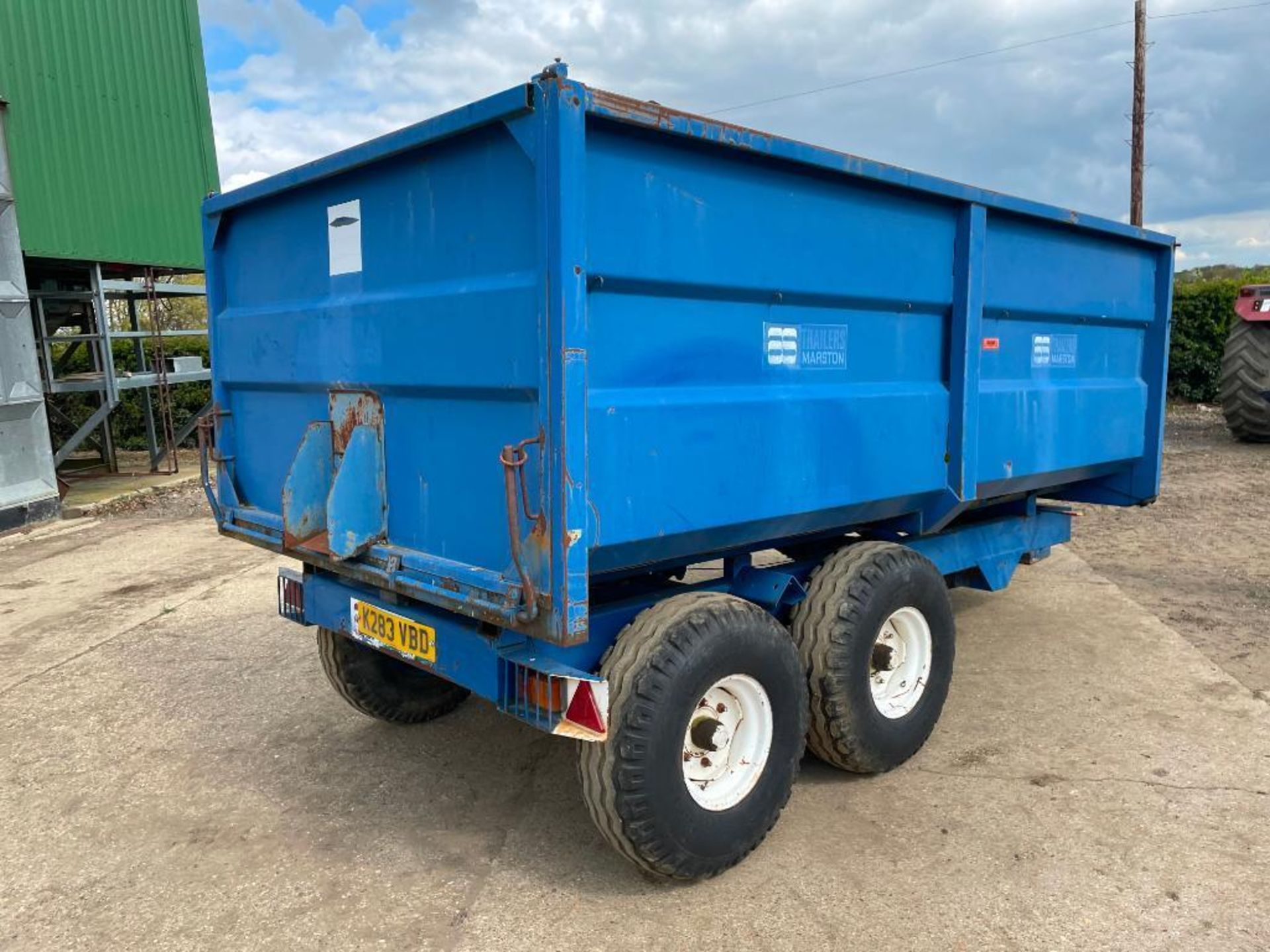 1986 AS Marston 8t twin axle grain trailer, manual tailgate and grain chute on 12.5/80-15.3 wheels a - Image 9 of 14