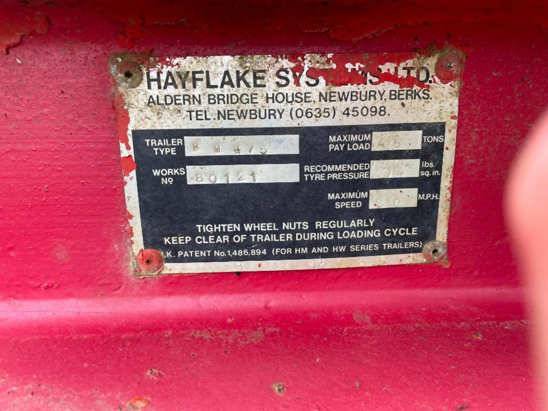Hayflake Systems HM475, 4.5t single axle low loader trailer on 11.5/80-15.3 wheels and tyres. Serial - Image 4 of 4