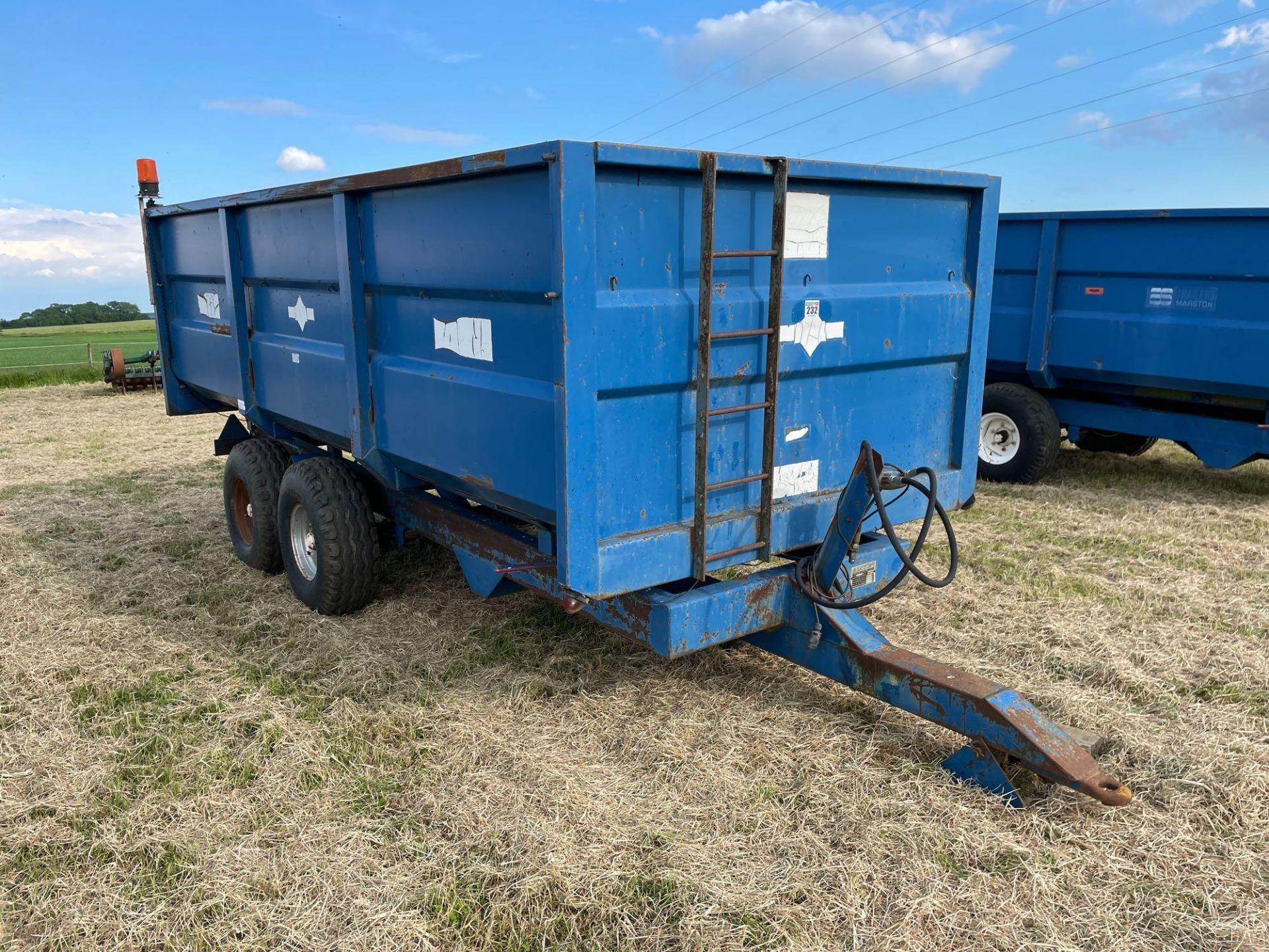 1984 AS Marston 10t twin axle grain trailer, manual tailgate and grain chute on 12./80-15.30 wheels