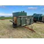 10 ft single axle trailer, metal floor with 800gal metal tank and 12v electric pump
