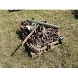 Various cultivator spares and chains including Gregoire Besson parts