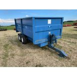 1986 AS Marston 8t twin axle grain trailer, manual tailgate and grain chute on 12.5/80-15.3 wheels a
