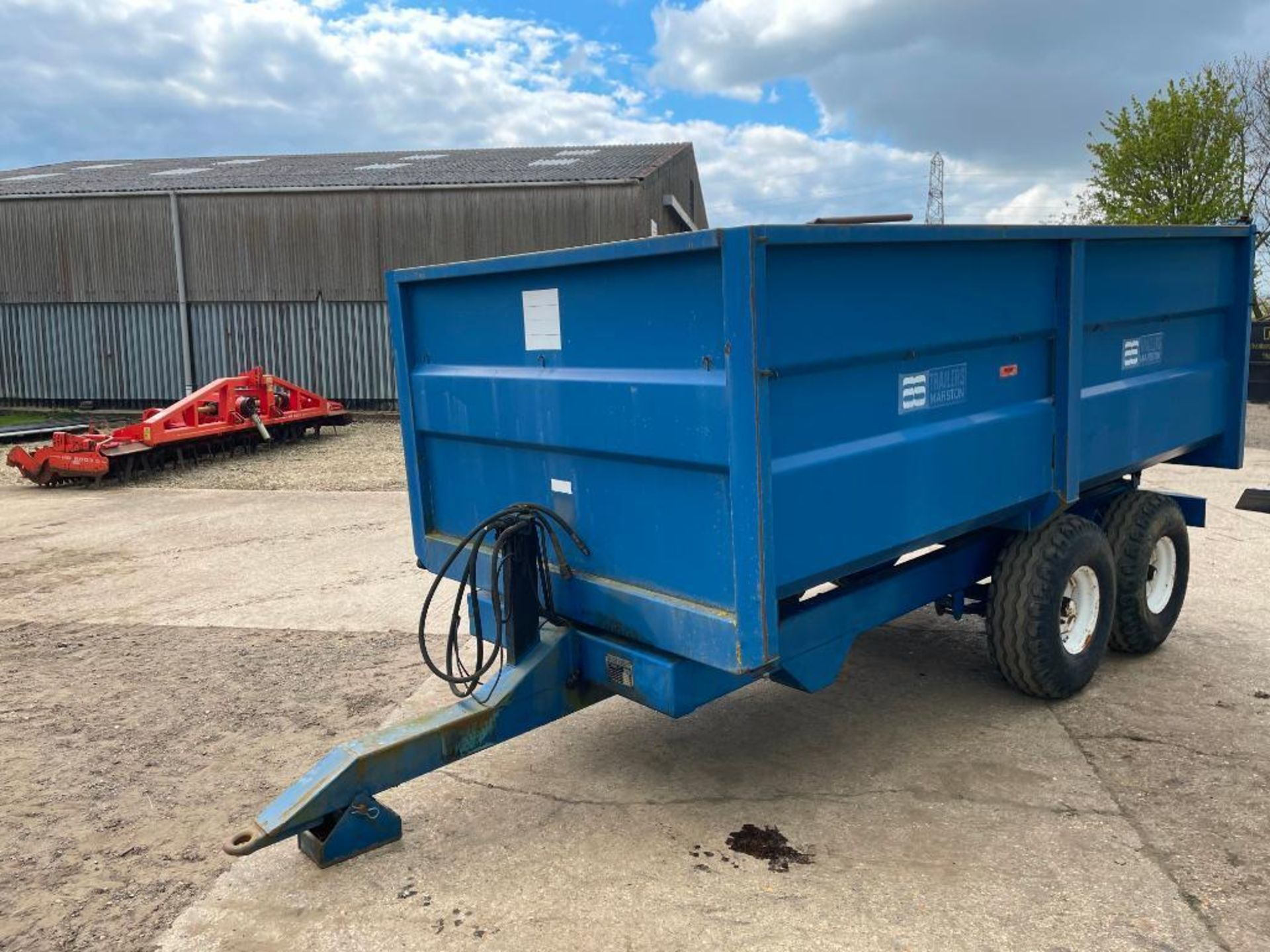 1986 AS Marston 8t twin axle grain trailer, manual tailgate and grain chute on 12.5/80-15.3 wheels a - Image 12 of 14