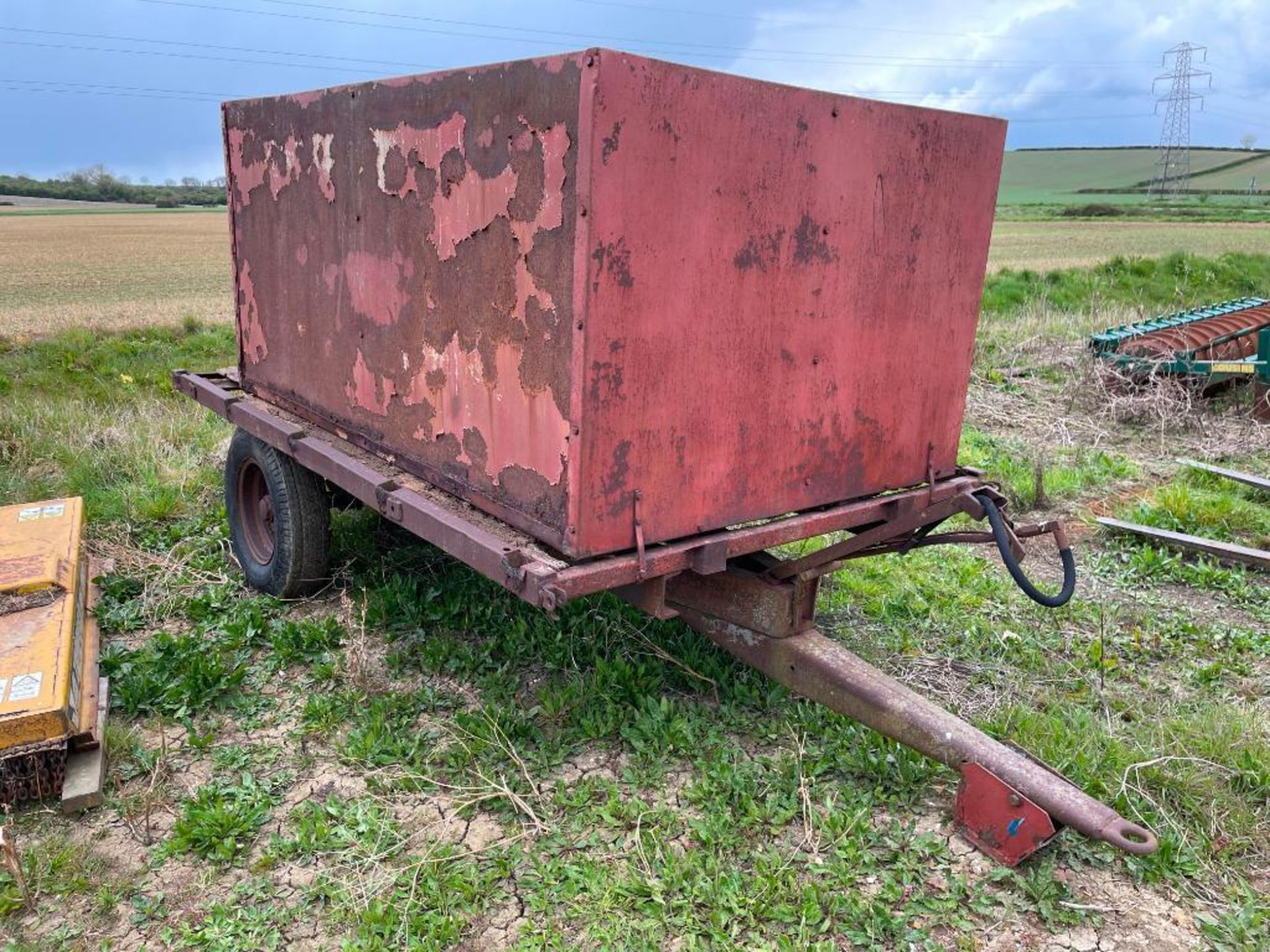 10ft single axle hydraulic tipping trailer, wooden floor with steel tank and grain chute - Image 6 of 6