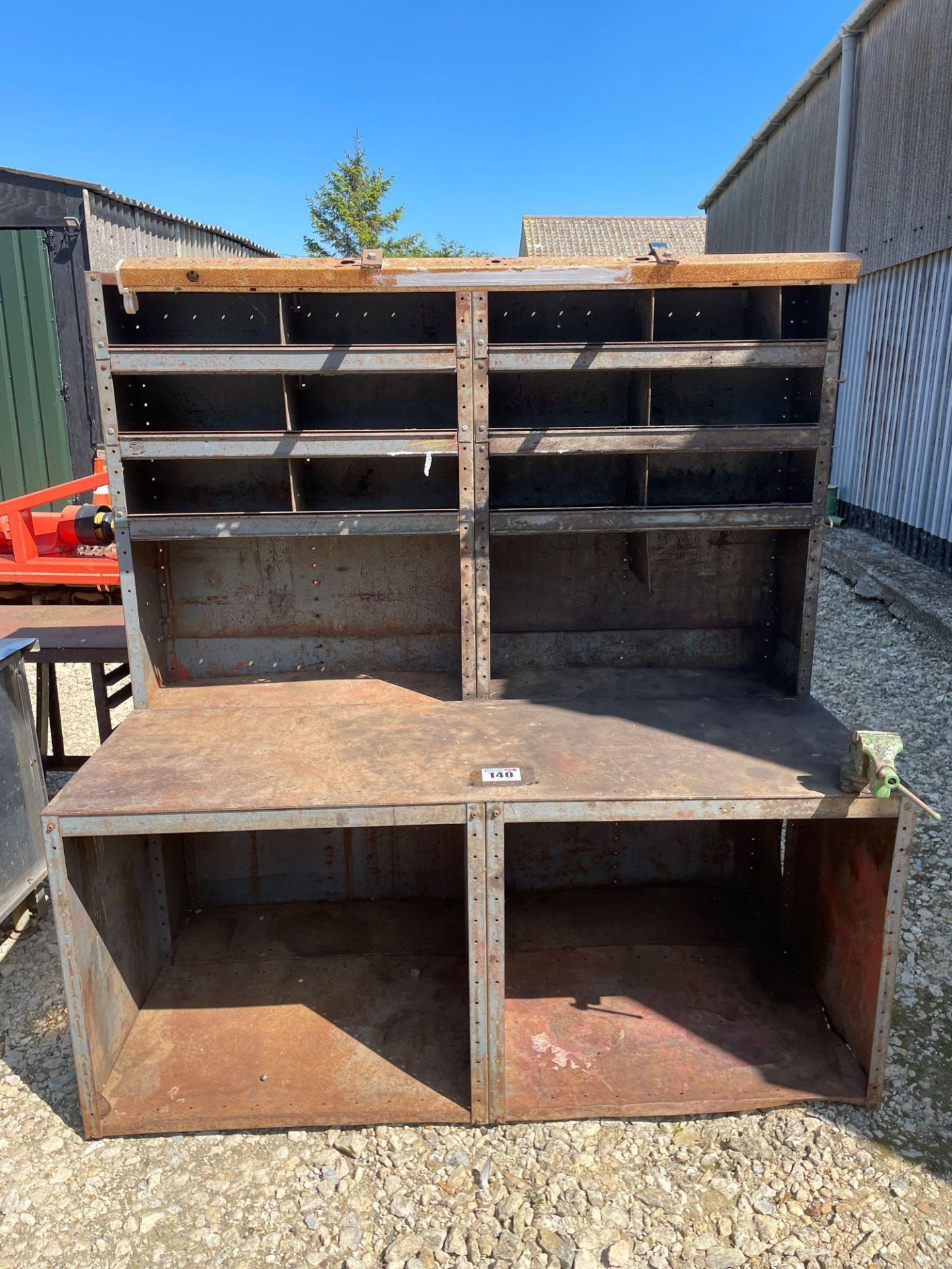 Metal workbench with pigeon holes and vice - Image 2 of 2
