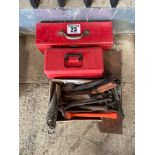Quantity of tool boxes and tools