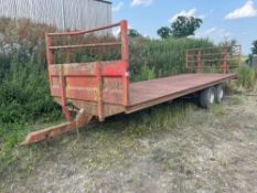 2007 Portequip twin axle 24ft bale trailer with front and rear raves. Serial No: 200705