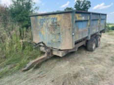 Henton Brabazon HB10T 10t twin axle hydraulic tipping trailer with manual tailgate and grain chute.