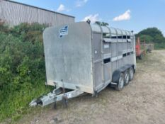 2007 Ifor Williams TA510G3 14ft tri-axle livestock trailer with partition gate. Serial No: SCKT00000