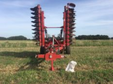 2018 Proforge Inverta 6m hydraulic folding cultivator with discs and rear packer roller.