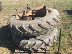 Pair of 5 star dual wheels with 13.6-38/12-38 Alliance tyres NO VAT