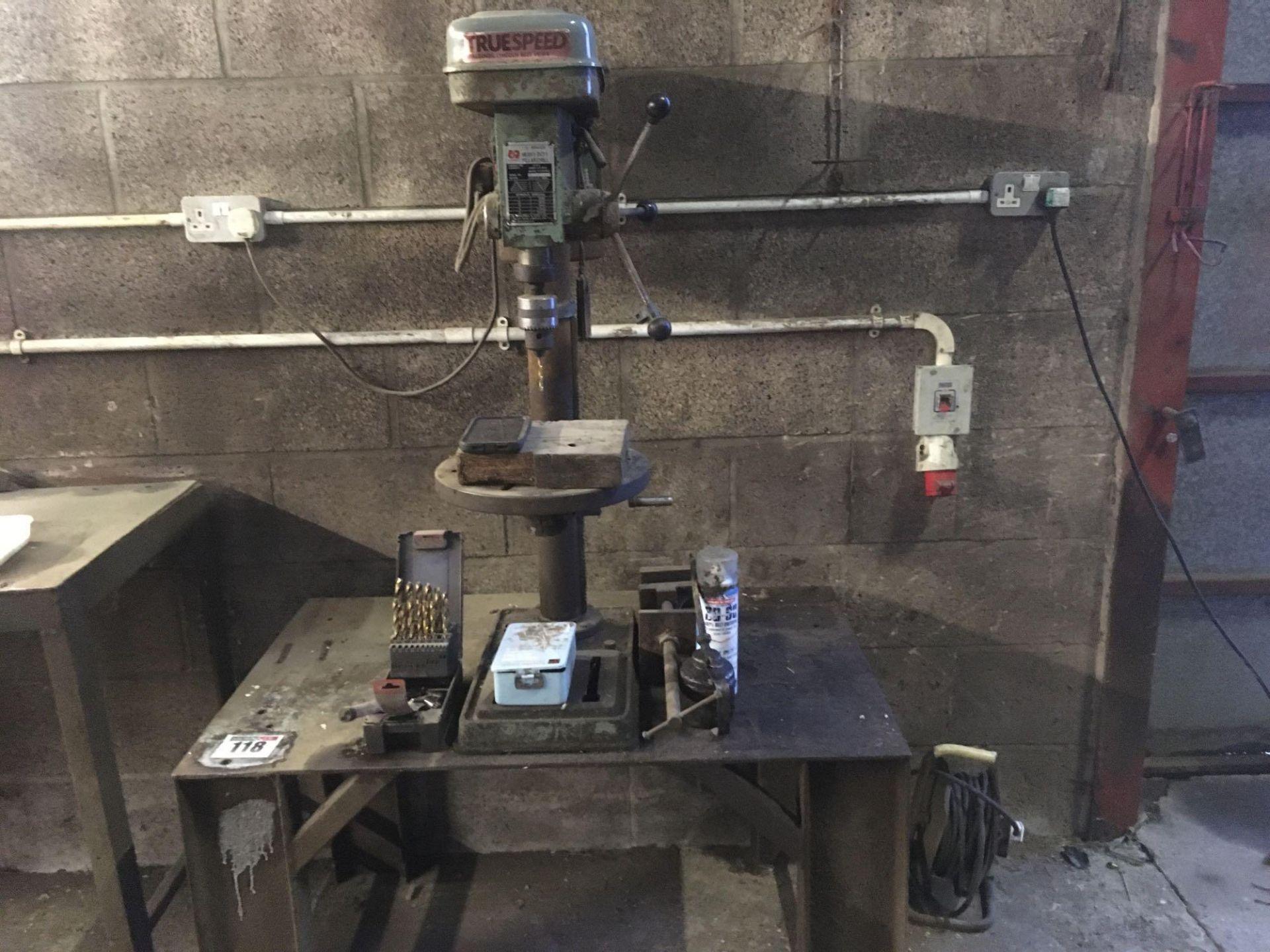 Metal workbench and Truespeed pillar drill