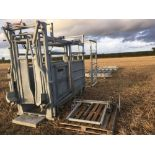 Bateman cattle crush with head scoop and squeeze, vet box and 4 x race gates, 1 x in race gate, 1 x