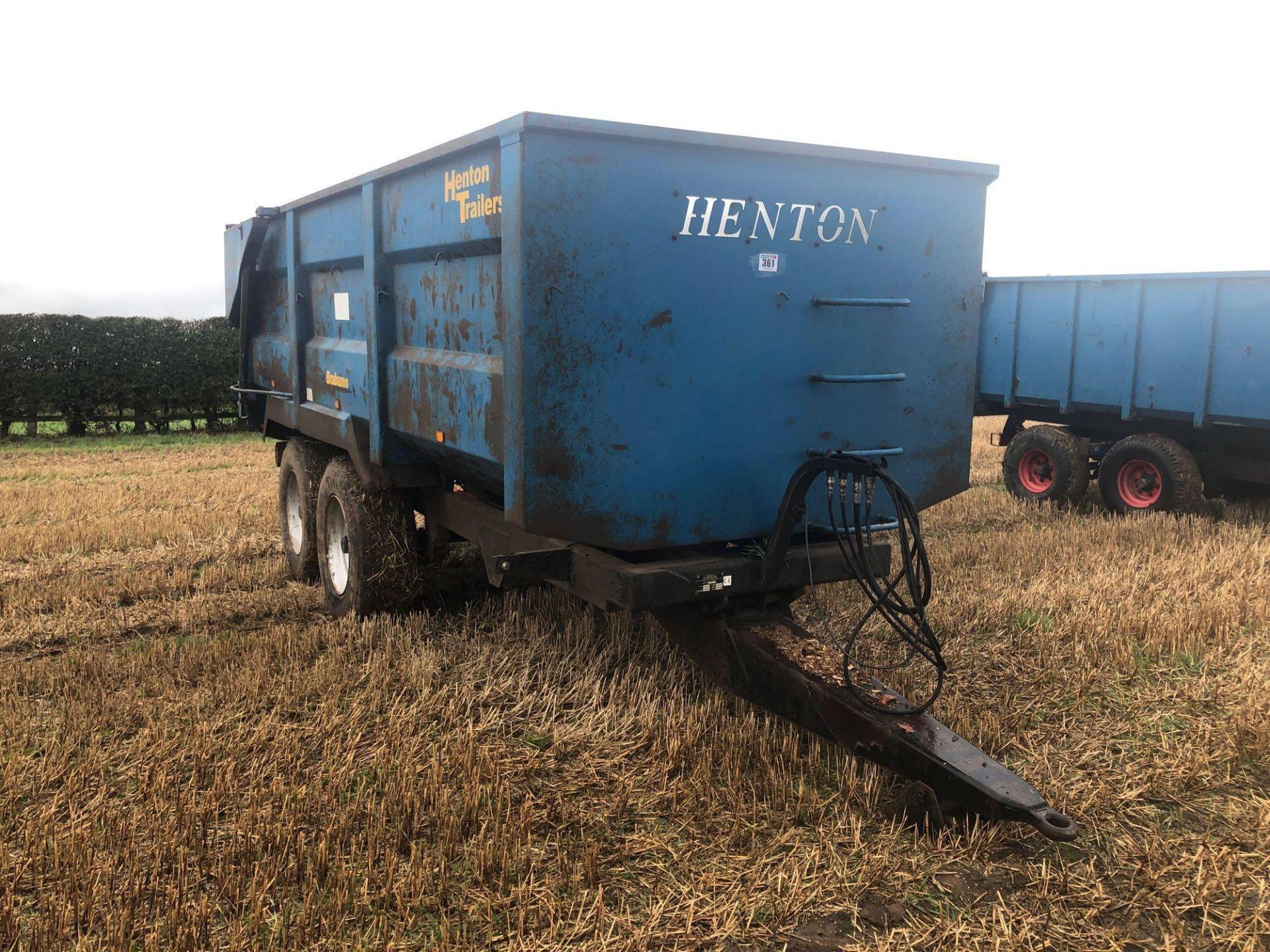 AA Henton & Son 12t twin axle trailer, hydraulic rear door, manual grain chute, sprung draw bar on 3