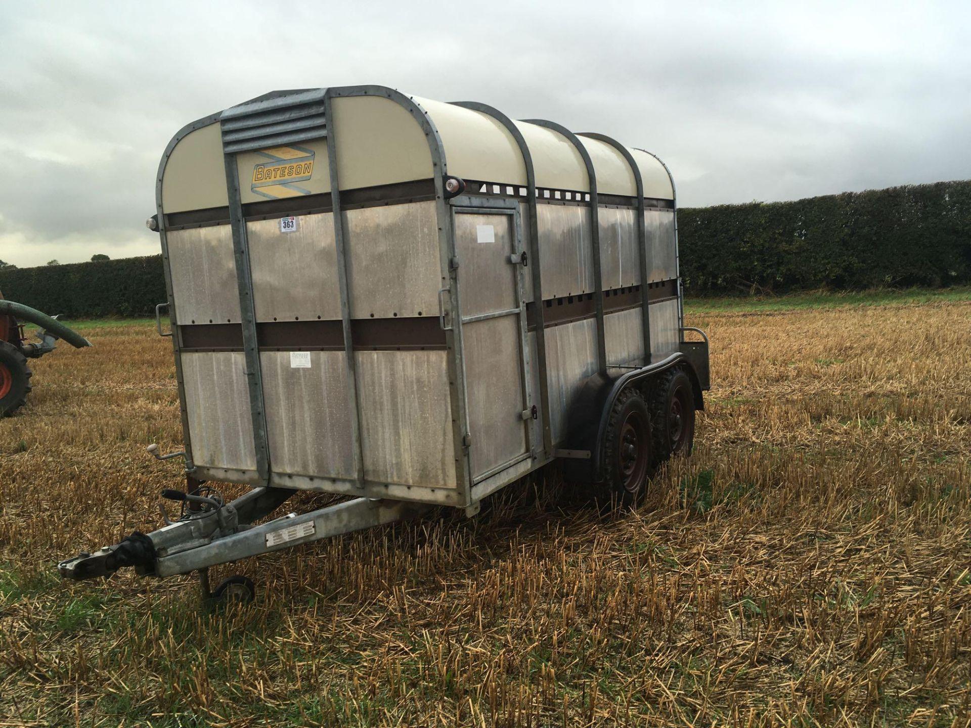 1996 Bateson Trailers 45LT twin axle livestock box, sprung rear door, side door, home made calf part - Image 4 of 14