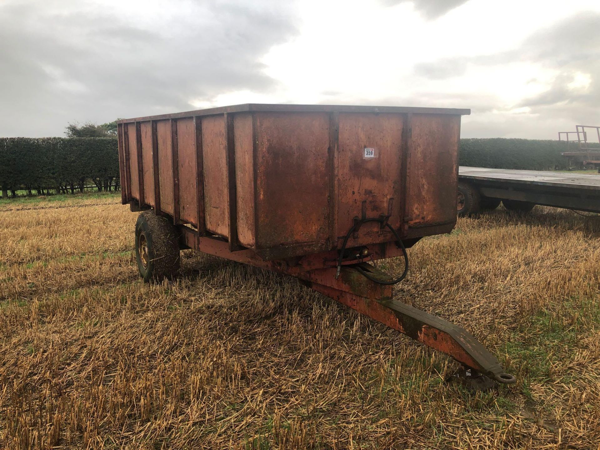 1978 6t homemade single axle trailer. C/w silage sides and back door.
