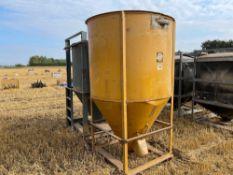 Pair metal grain tanks