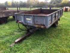 Ranch single axle tipping trailer, no hydraulic ram
