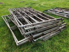 13No. galvanised 10ft hurdles