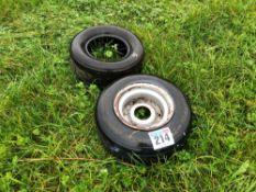 Pair 16x6.5-8 tyres with single rim