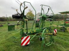 2001 Krone KW5.50 4 rota tedder, linkage mounted. Serial No: 499947. Manual in the office.