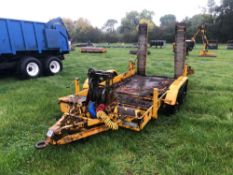 1983 Lolode twin axle low loader trailer, 6.5ft x 11ft with wooden floor, manual winch and ramps
