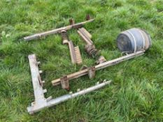 2No. cattle brushes with brackets