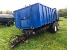 1983 Grain trailer twin axle 10t with sprung drawbar, hydraulic tailgate and grain chute on 15.0/70-