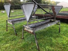 2No. Galvanised 8ft freestanding hayrack and trough